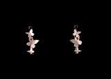 Boucles d'oreilles pendantes pour femme, motif Papillons, faites à la main en France en argent 925 et zirconiums rouges