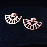 Boucles oreilles Art déco Fixes faites main Argent dorure Or rose avec ajourage