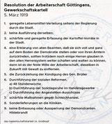 Forderungen der Göttinger Arbeiterschaft am 6. März 1919. StA Göttingen