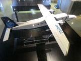 ●多目的実証実験機「MuPAL-α」の模型。調布飛行場の旅客機と同タイプの機種です