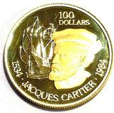 K22 22金 ゴールド カナダ ジャック・カルティエ 100ドル金貨