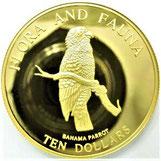 K24 24金 純金 ゴールド 1995年 バハマ諸島 金貨 1/2OZ コイン Parrot オウム 10ドル 15.5g