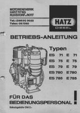 Betriebsanleitung Hatz ES71, E71, ES75, E75, ES79, E79, ES780