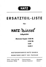 Ersatzteilliste Hatz E80, E85, E89