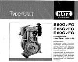 Typenblatt Hatz E80G, E80FG, E85G, E85FG, E89G, E89 FG