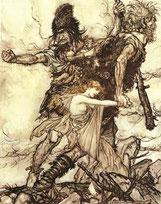 Die Riesen entführen Freya; Bild: Arthur Rackham