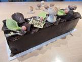 recette bûche feuille d'automne meringue et mousse chocolat