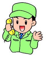 電話で応対する男性スタッフのイラスト
