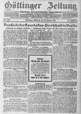 Göttinger Zeitung, 15.01.1919. StA Göttingen