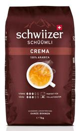 Schwiizer Schüümli Crema Ganze Kaffeebohnen 100% Premium Arabica, 1kg