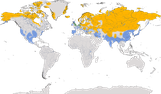 Karte zur weltweiten Verbreitung der Feldgänse.