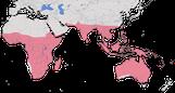 Karte zur Verbreitung der Familie der Prachtfinken