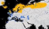 Karte zur Verbreitung des Goldregenpfeifers (Pluvialis apricaria)