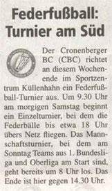 Cronenberger Woche Vorbericht vom 05.06.2004
