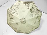 ハートがいっぱいな日傘  ~ベージュ色・ドット柄布付き~