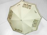 鳥と馬と花の更紗の日傘 (ベージュ色・ドット柄布付き)