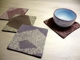 絹のコースター・4枚セット  ~雪のような多角形~