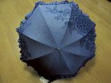 日傘 ~花更紗・藍色フリル布付き~
