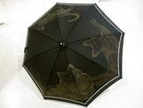 日傘・にゃんこの家族、ゴージャス版・黒地・水玉布付