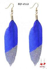 Boucles d'oreilles plumes bleues et paillettes