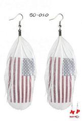 Boucles d'oreilles plumes blanches et drapeau americain