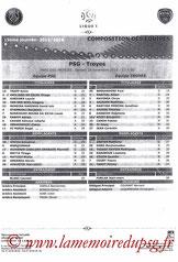 Feuille de match  PSG-Troyes  2015-16