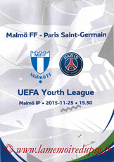 Programme Youth League  Malmo-PSG  2015-16