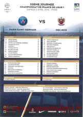 Feuille de match  PSG-Nice  2015-16