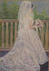 白いドレスの女性   油彩50号