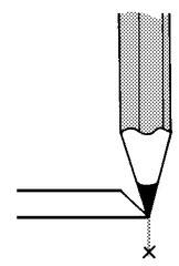 シャープペンシルや鉛筆の場合は狙い通りに線が引ける