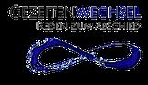 Logo von Gezeitenwechsel, liegende Acht als Symbol der Unendlichkeit in leuchtendem Tiefblau