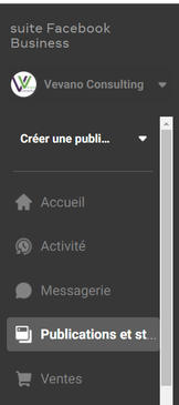 Suite Business publications et stories vue desktop ordinateur