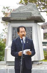 尖閣諸島開拓の日を祝う宴が行われた=14日、古賀辰四郎開拓記念碑