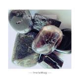 Pyrit, Magnetit, Turmalin schwarz, Hämatit, Lava Stein, Rauchquarz, Obsidan, Glimmer