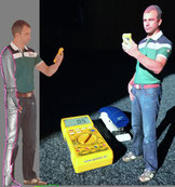 links: 3D-Scan | rechts: gedruckte Figur