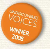 "orange badge with text ""Undiscovered Voices: Winner, 2008"""