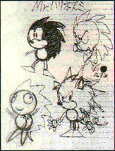 Original rough sketch of what later became Sonic the Hedgehog.