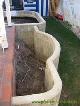 Schöner Garten, zugewuchtert, hässliche Pflanzringe weg, kreativ umgestalten, Hochbeet mauern