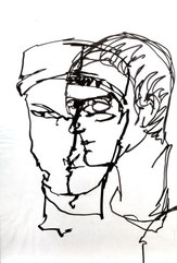 Portrait, Profil & antlitz, Plastikfolie & Eddingstift