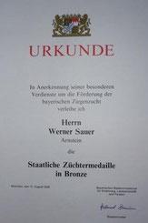 Staatlich Züchtermedaille in Bronze 1994 + 2009