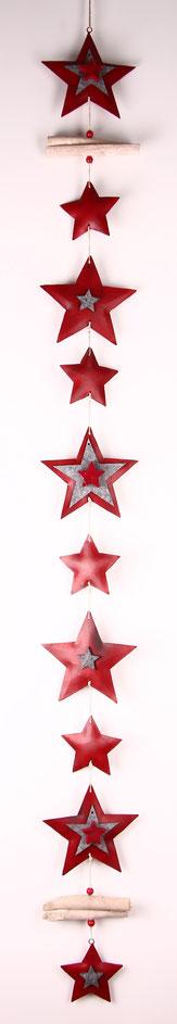 girlande rot grau  türkranz fensterdeko kette metallsterne weihnachtsdeko