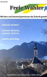 Bild zeit die Titelsiete des kandidatenheft der Freien Wähler mit einem Motiv von Str Jakob Lenggries und das Brauneck im Hintergrund