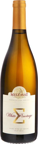 Mellasat 'Σ' White Pinotage 2016  13.6% Vol.,Blanc de Noir: Pinotage 100% Das Paradoxe an diesem Wein ist, dass das Auge die anderen Sinne täuscht. Ein Weißwein, der von roten Trauben des einzigartigen südafrikanischen Pinotage hergestellt wurde. Durch vo