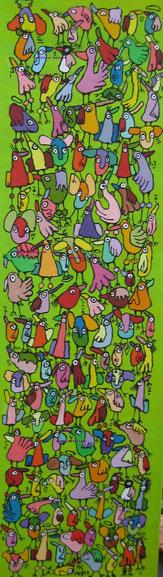 """""""Neuigkeiten und Gerüchte verbreiten"""", Acryl auf Leinwand, 30/100 cm, April 2011"""