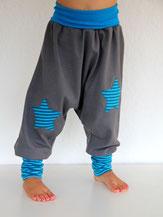 Haremshose Pumphose Jersey grau mit Stern - designed by Lumpenprinzessin