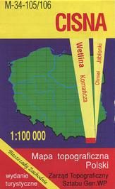 Cisna Bieszczady Zachodnie Wetlina Komancza mapa topograficzna