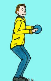 Zeichnung eines Mannes der eine kleine Kniebeuge macht und einen Ball hält.