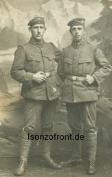 Rechts Schütze Anton Lang, links Emil Rauch. Sammlung Isonzofront.de
