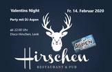 Disco, Bar, Pub, Party, DJ Aspen, Simmental, Berner Oberland, Thun, Schweiz, Ausgang, 14. Februar 2020, Huettenzauber.ch, Restaurant Hirschen, Lenk