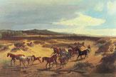 Histisches Gemälde mit Senner Pferden